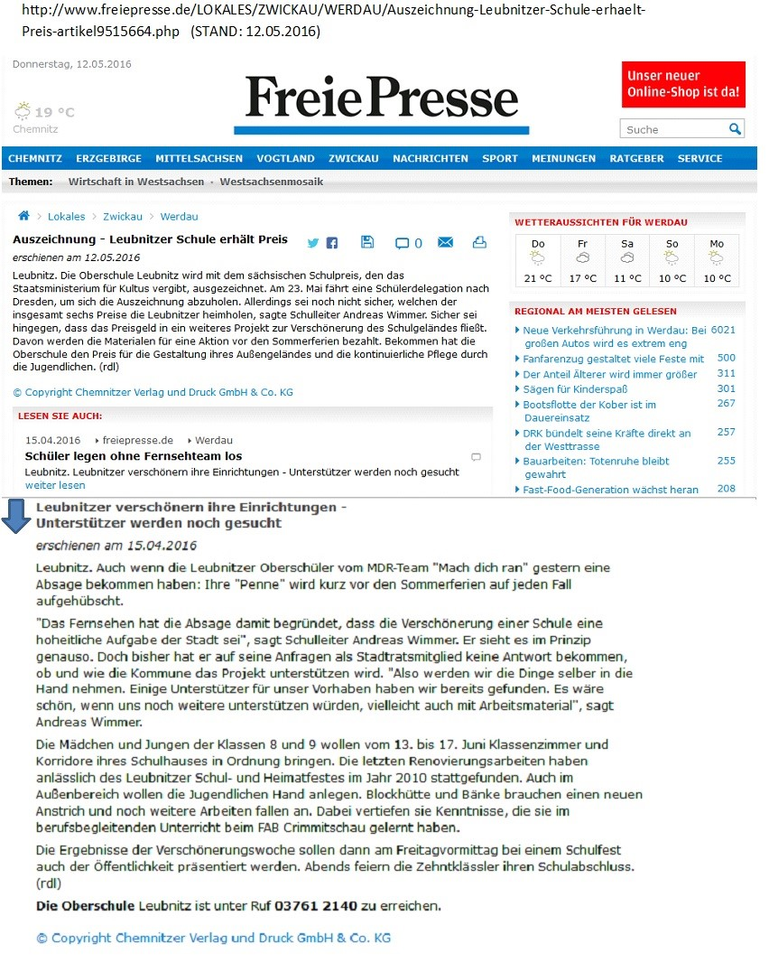 Auszeichnung_ Artikel_Freie Presse_ Mai_2016
